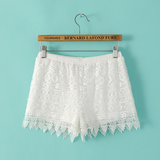 High Waisted Time-limited Straight 2015 Summer New Fashion Solid Color Lace Elastic Waist Women Shorts Zj17 - LITTLE DREAM SHOP store