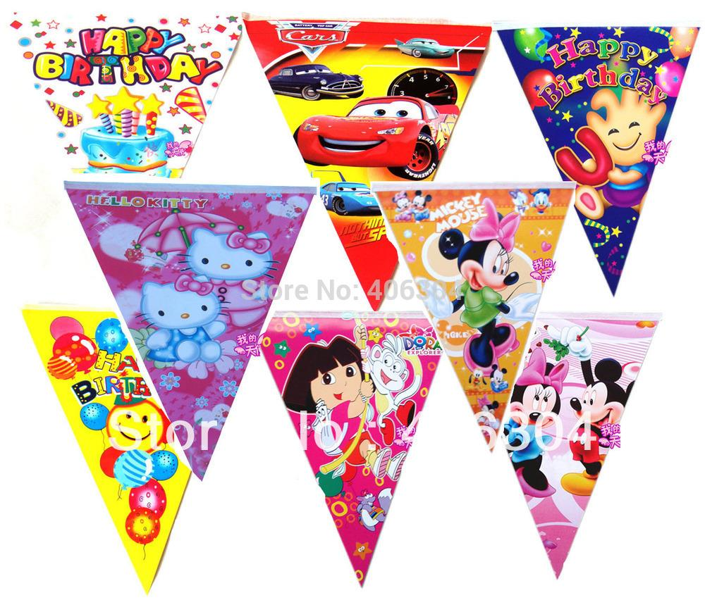 Free shipping,birthday party decoration kit,princess, mouse,hello kitty,spidrman,dora ,car spongebob hanging flag banner,2.5M(China (Mainland))