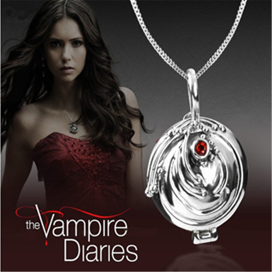 2016 The Vampire Diaries Elena's Vervain Antique Silver Bronze Body Chain Crystal Locket Vintage Necklace Retro Jewelry Women(China (Mainland))