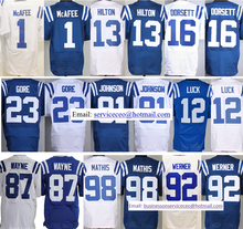 TOP Quality Mens 1 Pat McAfee 12 Andrew Luck 13 T.Y. Hilton 23 Frank Gore 87 Reggie Wayne 98 Robert Mathis Free Shipping(China (Mainland))