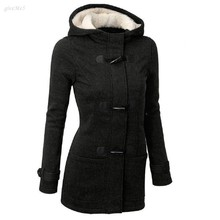 Fashion Women Winter Thick Coat Casual Slim Hooded Zip Up Horn Buttons Long Keep Warm Coat(China (Mainland))