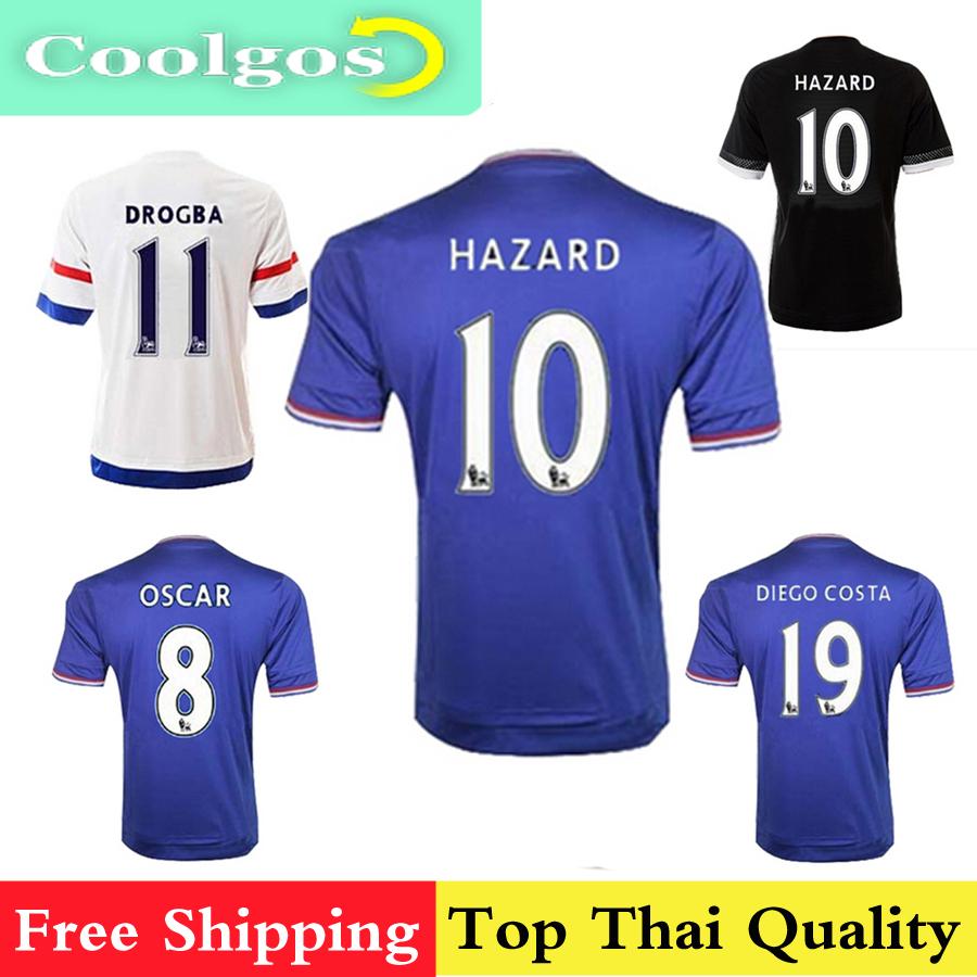 Thai Quality 2015 2016 Chelsea Soccer Jerseys Camisa 15 16 OSCAR FABREGAS HAZARD DIEGO COSTA DROGBA Football Home AWAY jersey(China (Mainland))