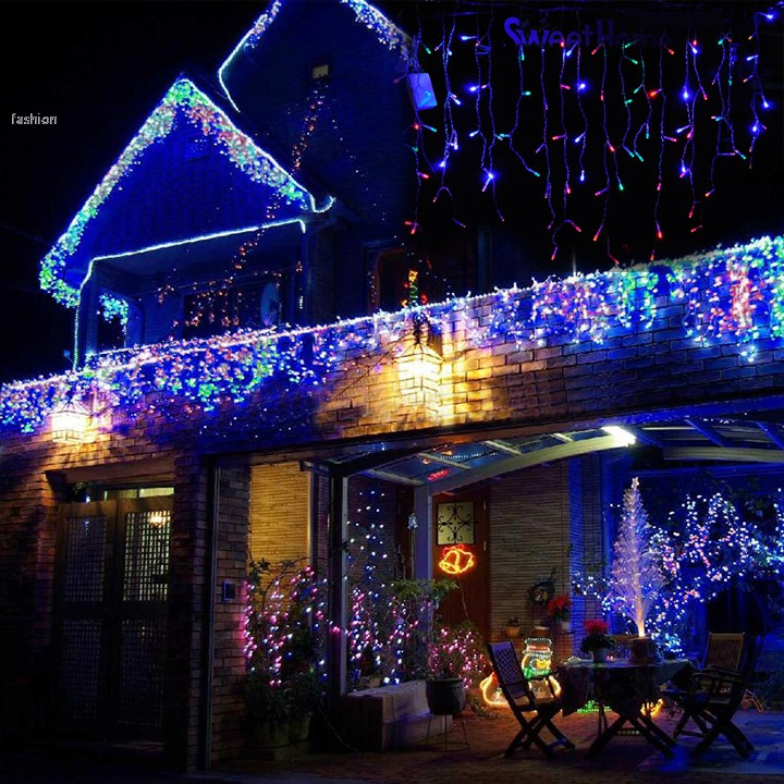 96 LED 3M Curtain Lights Led Icicles Lights Lamps With EU Plug Xmas Wedding Party Decorations 25(China (Mainland))