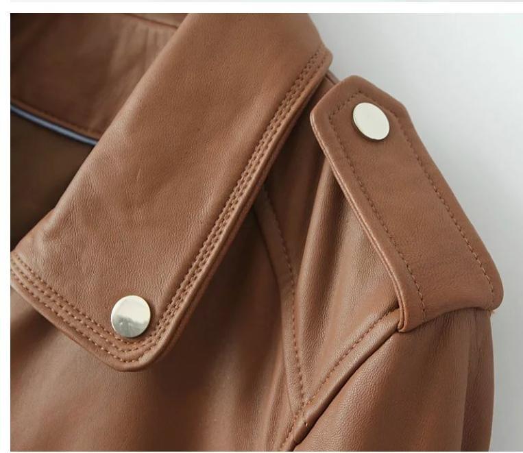 Spike khaki street autumn classic slim fit womens faux leather jackets splice PU short coats clothing long sleeve style street
