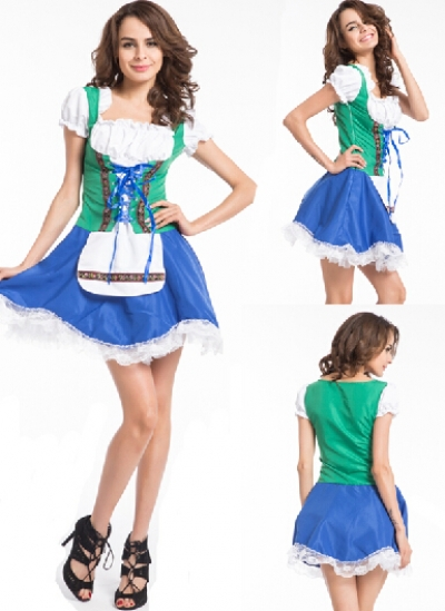 Oktoberfest Ladies Beermaid Garden Maid German Costume Deluxe Blue Pink M XL - Hongkong Zhengtian Industrial Co., Ltd. store