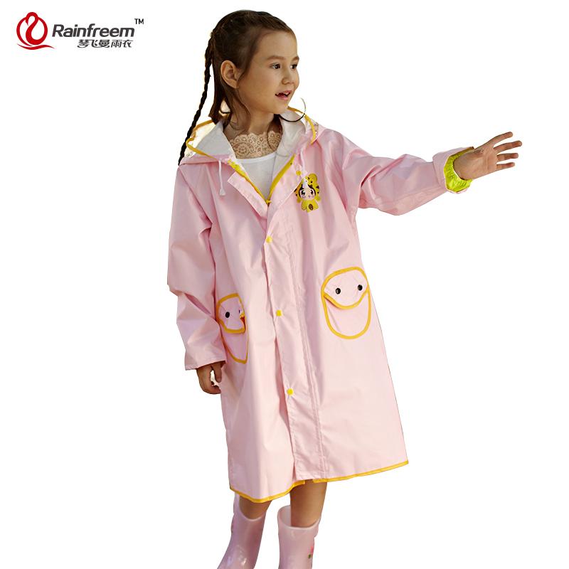 Rainfreem Impermeable Raincoat For Children Lovely Kids Rainwear Transparent Hood Pattern Print Rain Coat Kids Rain Gear Poncho(China (Mainland))
