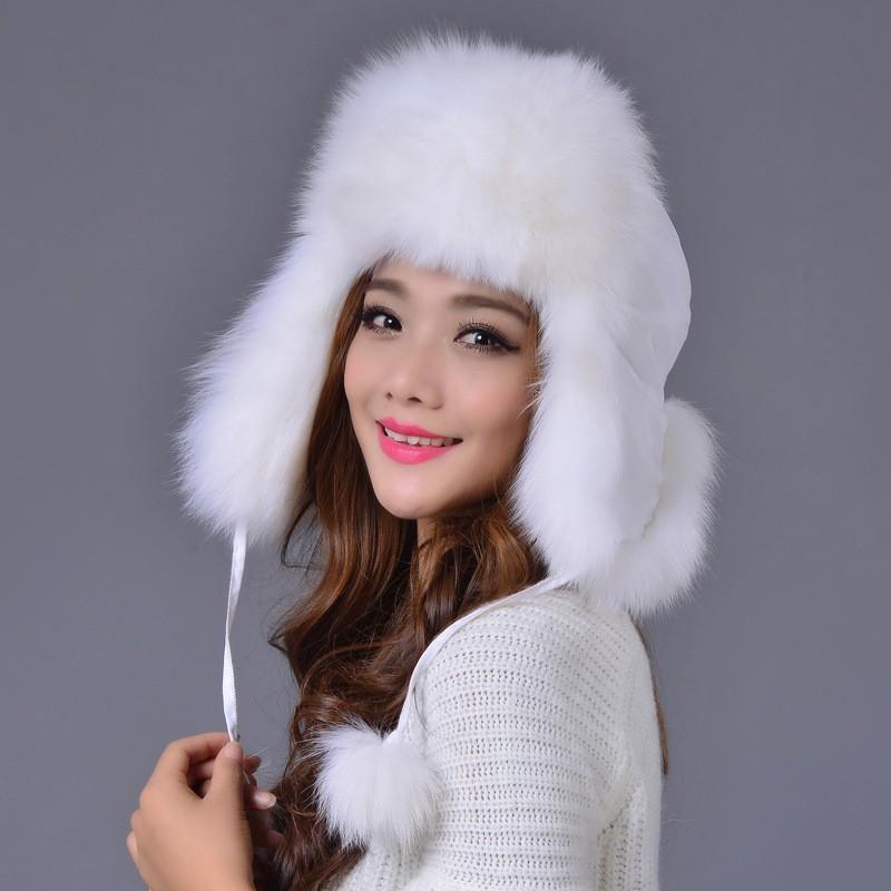Hat Fashion Warm Skullies Women's Winter Hats Fur Hats For Women Winter Knitted Hats Ear Protection Cap Winter Cap Women E001