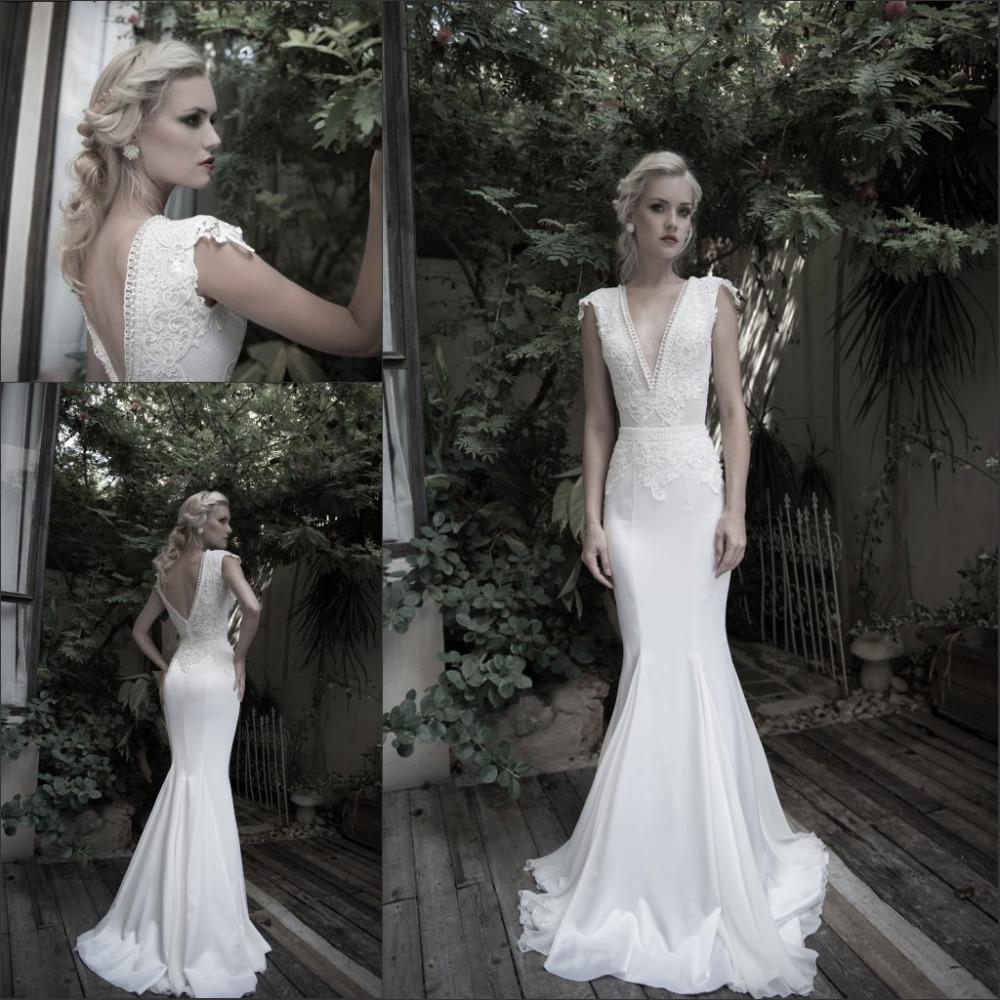 2014 vestidos de noiva deep v neck lace appliqued mermaid for Lace wedding dress with pearls