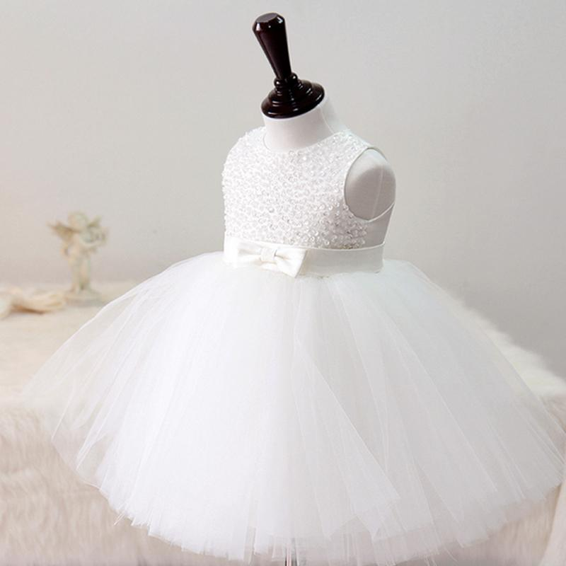 Sweet White/Ivory Christening gowns,Pearls & Sequin flully dress for 1 year birthday Baby,Flower girls outfit for wedding 1241(China (Mainland))