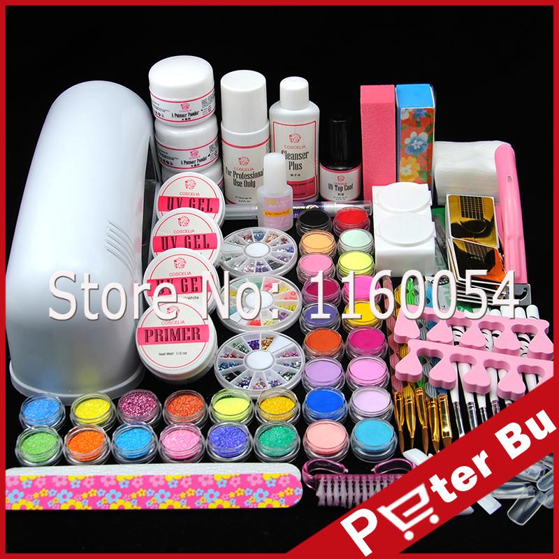 COSCELIA 9W UV white lamp Bulb Primer UV Gel Nail Kit 18 colors Acrylic Powder Glitter Liquid False Tip UV Nail Art Tools Kit(China (Mainland))