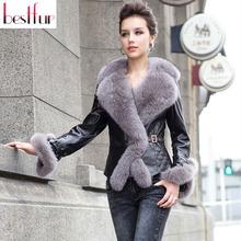 2015 New Winter Brand Genuine Leather Clothing Female Short Design Slim Real Fox Fur Sheepskin Cotton-padded Coat Freeshipping(China (Mainland))