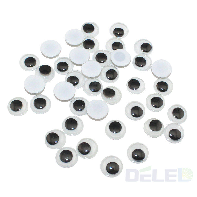 Eye Activities Moving Eyeball Plastic Eyes Scrapbook with adhesive sticker For Children Doll Toy Handmade DIY Accessories 100pcs(China (Mainland))