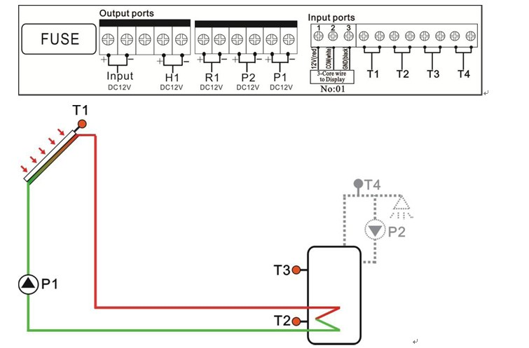 controller of solar water heater  12vdc with 3