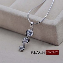K8064 Women Silver Color Fashion Jewelry Necklace Pendants Chains White Gold Plating Austrian Crystals(China (Mainland))