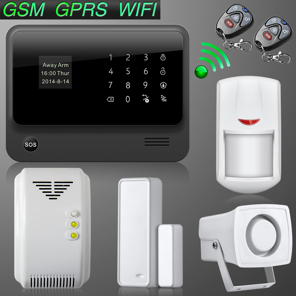 Touch Screen Keypad LCD display WIFI + GSM GPRS SMS OLED Home House Security Alarm System APP Control + Wireless Gas Sensors<br><br>Aliexpress