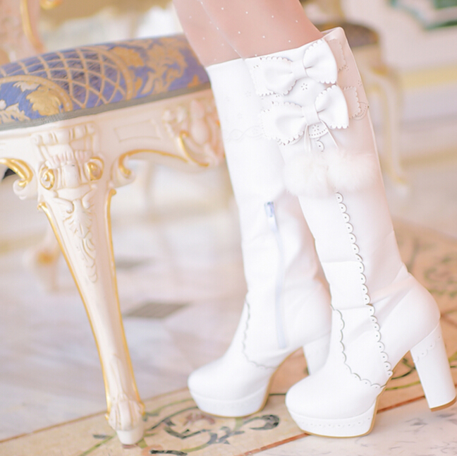 Women Sweet bow tie boots 2015 Winter Fashion high square heels boots women Japan style Cute Boots with fur Kawaii Girls Boots(China (Mainland))