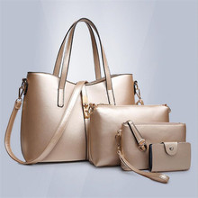 New Arrival Women Lash Bag 4 Sets Pure Color Female Handbag Famous Brand Portable Composite Bag