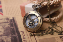 Artilady Fashion Jewelry the hunger game Retro necklace Pocket watch 2015 new coming