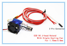 E3D V6 3D Printer J-head Hotend with Single Cooling Fan for 1.75mm/3.0mm Direct Filament Wade Extruder 0.3mm/0.4mm/0.5mm Nozzle