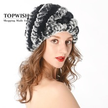 Women Genuine Knitted Rex Rabbit Fur Hats Natural Stripe Rex Rabbit Fur Caps lady winter warm Headwear free shipping TFP536(China (Mainland))