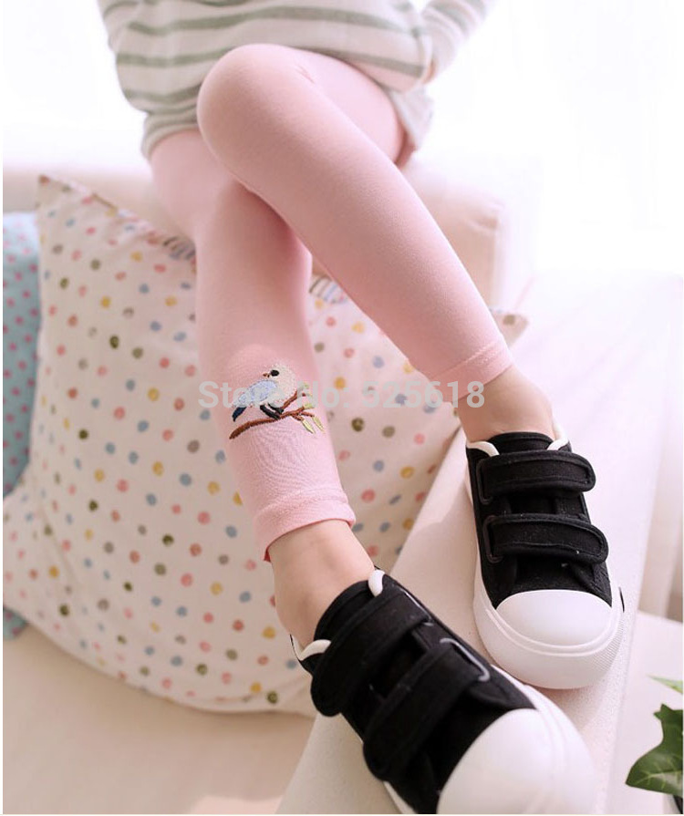 New Baby Kid Girl Cotton Pant Embroidery Bird Warm Stretchy Leggings Trousers Hot Free Shipping