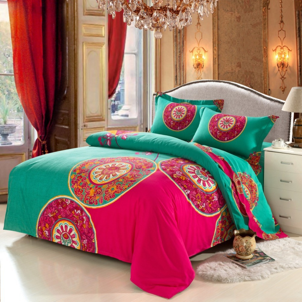 Bohemian Bedding Set 4pcs Boho Style Funda Nordica Bedclothes Moroccan Duvet Cover 100%Brushed Cotton Bedsheet Wedding Bedspread(China (Mainland))