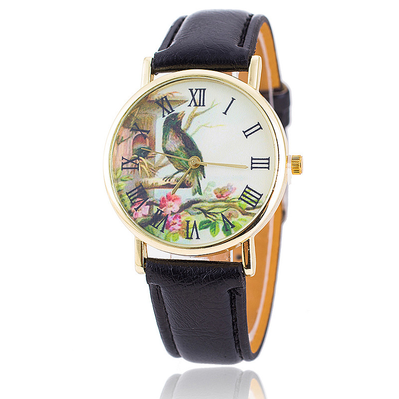 New Fashion Women Watches Leather Strap Bird Flower Watch Reloj Mujer 2015 Relogio Feminino Casual Trendy Wrist Watches BW1653<br><br>Aliexpress
