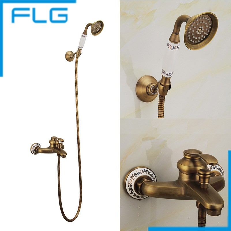 Antique Brass Bathroom Bath Faucet Wall Mounted Hand Held Shower Head Kit Shower Faucet Sets FLG40009A(China (Mainland))