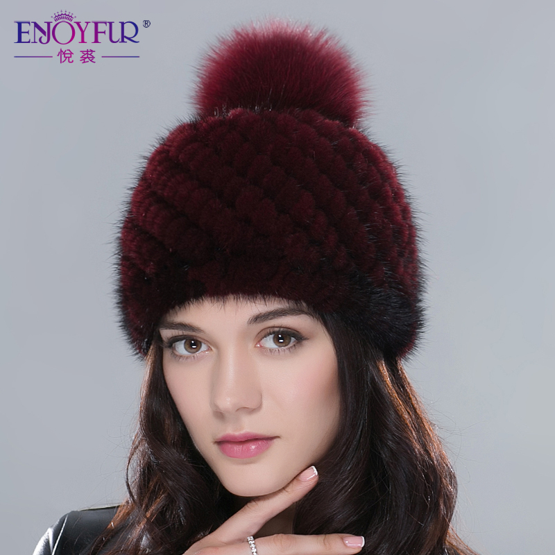 Hot sale real mink fur hat for women winter knitted mink fur beanies cap with fox