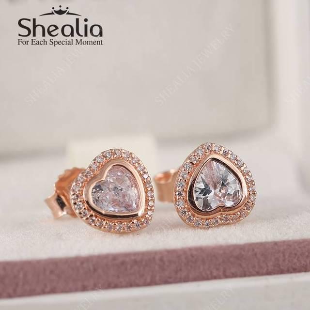 2016 весной нью-роза позолоченные AAA CZ в форме сердца серьги для женщин серебро 925 изящные ювелирные день матери подарок EAR045