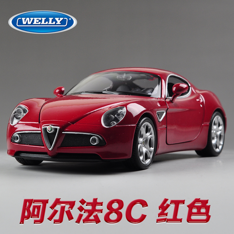 Здесь можно купить  Brand New WELLY 1/24 Scale Car Model Toys Alfa Romeo 8C Supercar Diecast Metal Car Toy For Gift/Collection/Kids -Free Shipping  Игрушки и Хобби