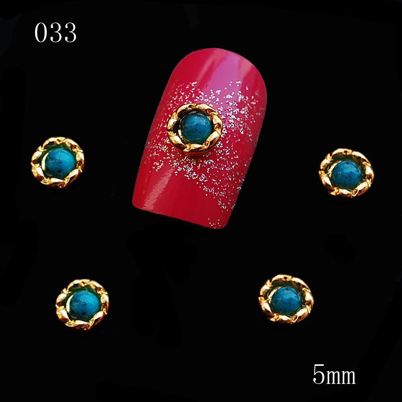 033 5mm 100pcs/lot Round Blue Rhinestones in Golden Flower Alloy Metal Charms Nail Studs Design Accessories