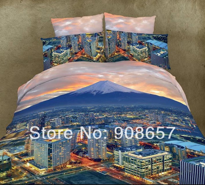 2014 new discount 3D bed sets blue city scenic printed bedding full/queen size quilt duvet covers home textile linen coverlet(China (Mainland))