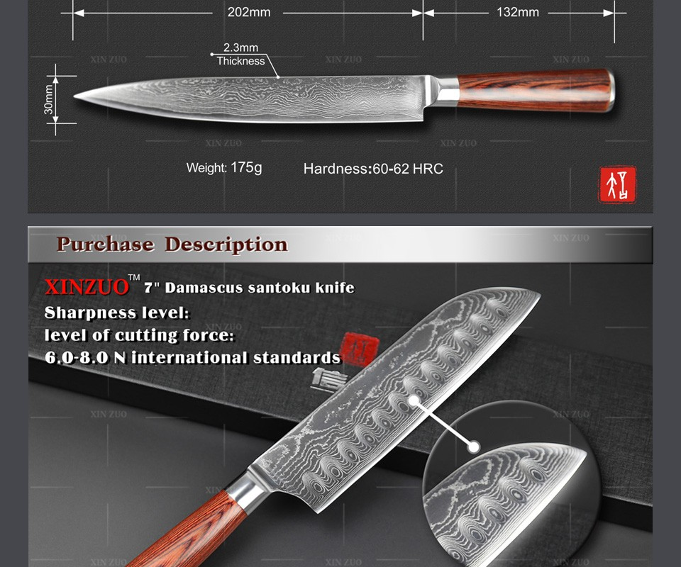 Buy XINZUO 3 pcs kitchen knife set japanese chef cleaver knives Damascus kitchen knife kitchen cook tool wood handle free shipping cheap