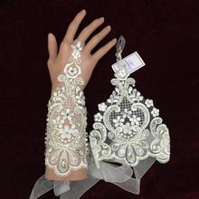 Heiße Verkäufe Glamour Handschuhe 2016 Neue Ankunft Spitze Braut handschuhe mit beades Hochzeit Brauthandschuhe Champagner fingerlose Handschuhe st-11(China (Mainland))