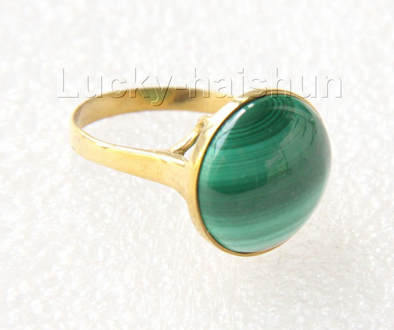 AAA 100% natural 15mm green malachite Rings 925s silver filled gold 7# j10040<br><br>Aliexpress