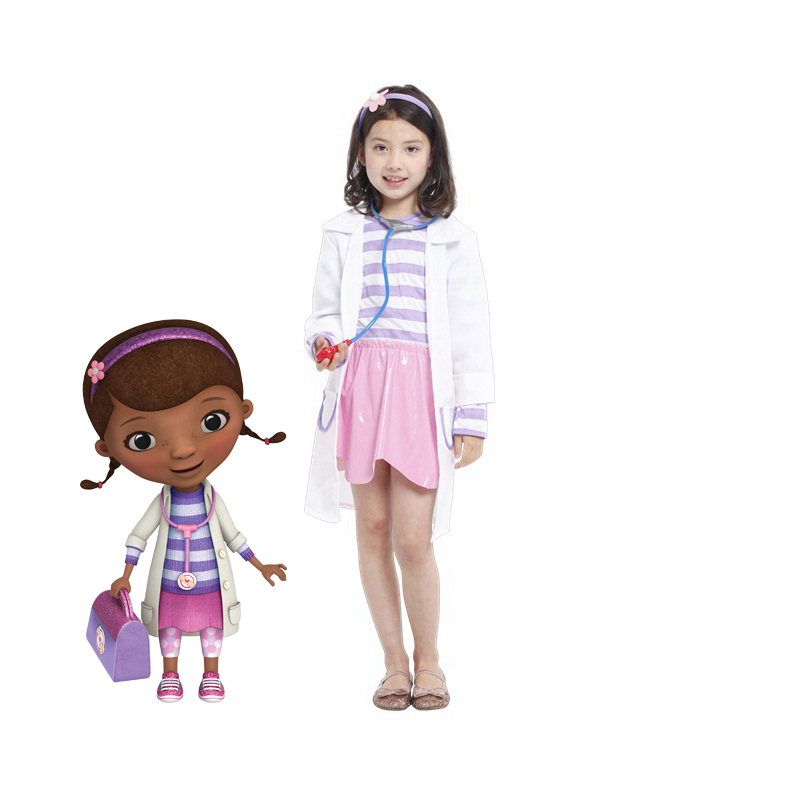 Doctor Doc McStuffins Clinic Child Costume Girl's cosplay fantasia Fancy dress Carnival halloween costume(China (Mainland))