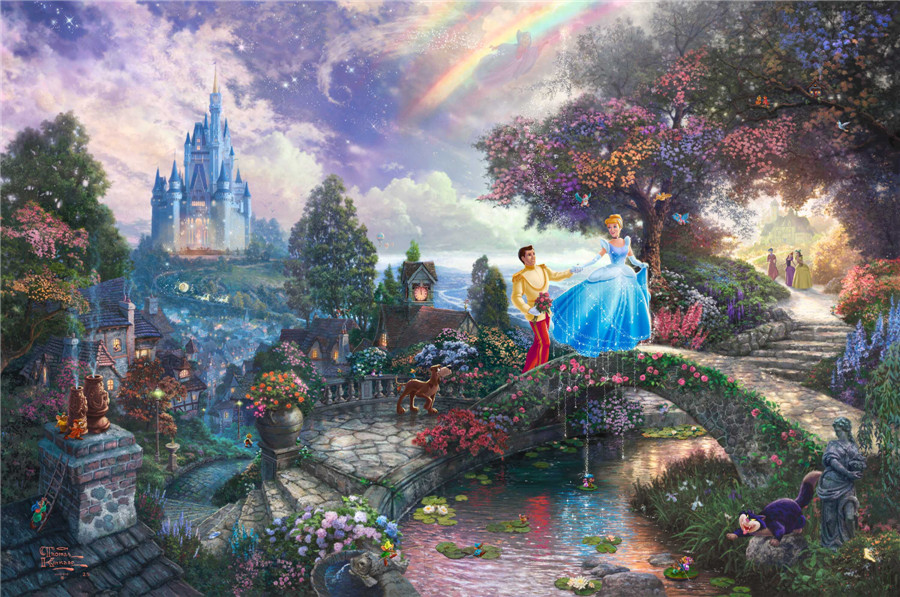 Thomas Kinkade Cinderella Wishes prints Art Print On Canvas Home Decoration Wall Art Free Shipping(China (Mainland))