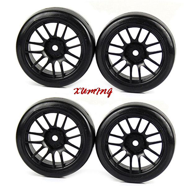 14 Spoke 1:10 Drift RC On Road Car Black Wheel Rims Rubber Tires(4pcs)(China (Mainland))