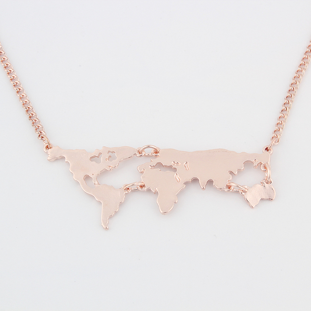 Necklace with World Map Pendant