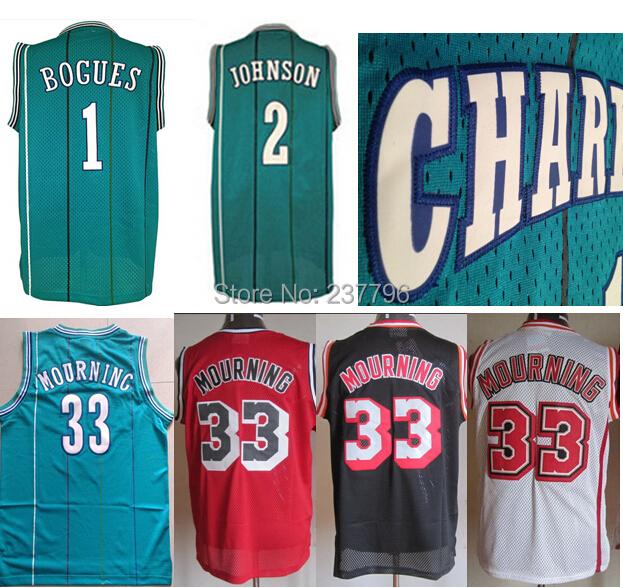 Charlotte Hardwood Classics 1 Tyrone Muggsy Bogues Jersey 2 Larry Johnson Jersey 33 Alonzo Mourning Jersey Throwback Basketball(China (Mainland))