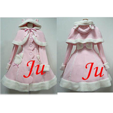 Free Shipping Gothic Lolita Punk Wool Coat With Cape Dress Cosplay Costume Tailor-made