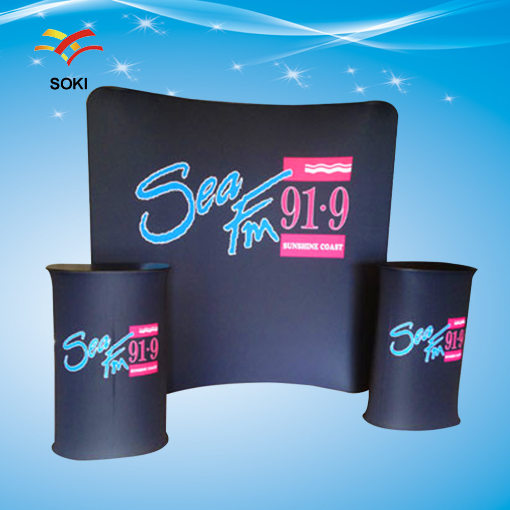 8ft Curved Shape Exhibition Stands Fabric Trade Show Display Tension Fabric Display Booth Design System(China (Mainland))
