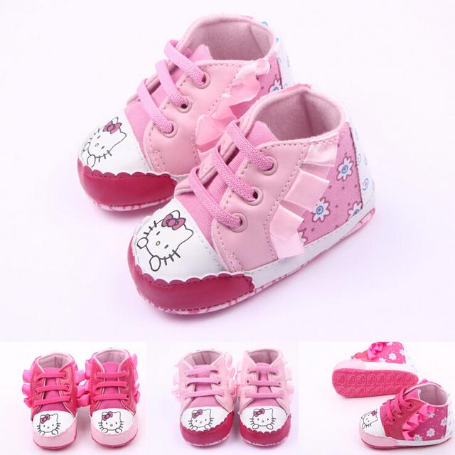 0 - 2 лет девочка Prewalker кроссовки привет котенок печать 2 цвет младенец девочка ...