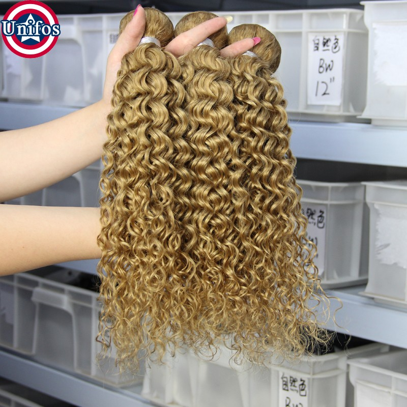 Honey Blonde Peruvian Virgin Hair Jerry Curly 4 Bundles With Closure Blonde Closure With Hair weft Human Hair weave 27# Closure