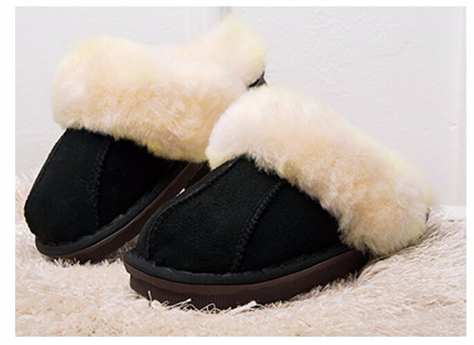Winter Warm Indoor Shoes Thick Wool Slippers Women Men Couple Furry Sheepskin Slippers Australia Genuine Leather Slippers