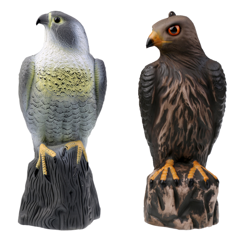 2 Pieces / Set 3D Standing Eagle Falcon Bird Hunting Decoy Garden Weed Plant Pest Control Protector Bird Scarer