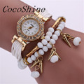 CocoShine A 829 New Fashion Weave Wrap Around Bracelet Watch Crystal Synthetic Fashion Chain Watch wholesale