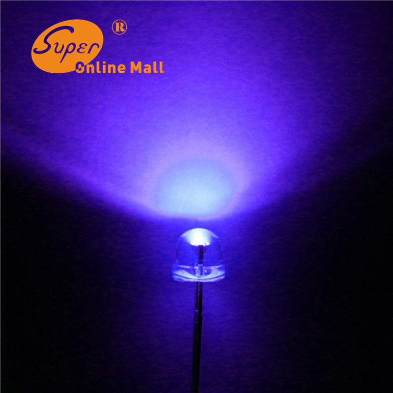100 pcs/lot led 5mm straw hat uv/purple leds Light Emitting Diodes (4.8mm) Water Clear ultra bright Wide Angle LED(China (Mainland))