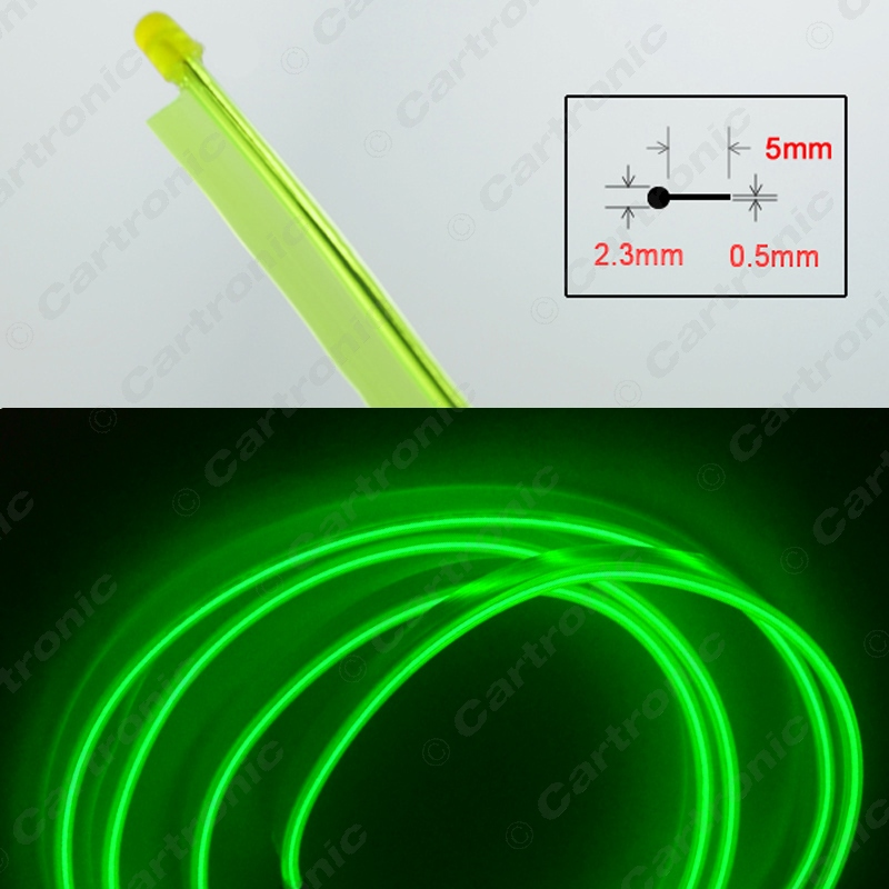 1Roll Yellow Green 3m Flexible Moulding EL Neon Glow Lighting Rope Strip With Fin For Car Decoration #CT3985(China (Mainland))